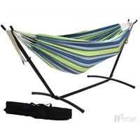 Single Polyester Hammock With Metal Stand