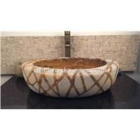 Special Design Vessel Sink, brown marble wash basin