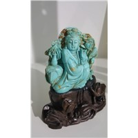 Buddha Thai Statue Religious Carving with China Stablized Turquoise