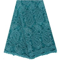Tulle lace material beaded and rhinestoned embroidery lace fabric in apparel for women dress