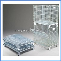 Heavy duty foldable storage rigid matel welded wire cage