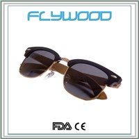 Low Cost High Quality Stainless steel Frame Wooden Sunglasses 2016 bamboo sunshades