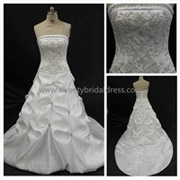 Ball Gown Strapless Embroidery Taffeta Wedding Dress 1649