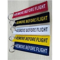 Wholesale Custom Design Remove Before Flight Embroidery Keychain Keyring Key Ring Key Chain Key FOB