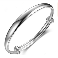 New style shiny Silver expandable wire bracelet bangle with single loop