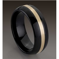 Hot Sales Vogue Jewelry Wedding Rings, Gold Inlay Black Ceramic Wedding Bands
