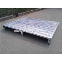 Blue Power Coating Iron Metal Pallet with 4 Side Forklift Entrance