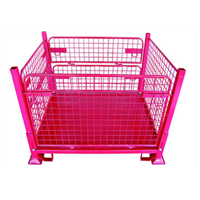Warehouse stacking wire mesh storage collapsible bin