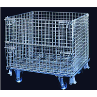 steel powder coating wire mesh container with pallet base for auto industry