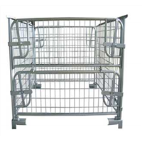 Euro collapsible warehouse stackable mesh pallet cage