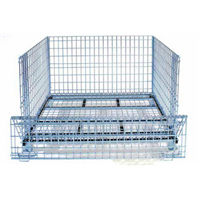 Industrial stackable foldable storage warehouse metal cage