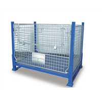 Heavy duty foldable steel wire mesh pallet metal stillage cage
