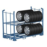 Industrial Powder Coated Post Pallet Portable Stacking Tyre Rack