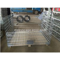foldable and stackable warehouse pallet mesh container