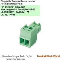 Plug-Terminal Block header & Socket Pitch : 3.81 mm / 0.15 in