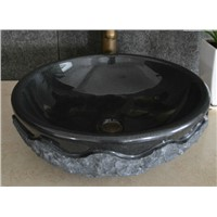 Absolute black round vessel sink