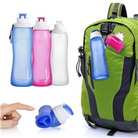 Reusable 2oz leak proof BPA free outdoor sports collapsible silicone water bottle