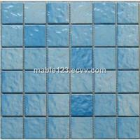 2''x2'' wave light blue pool mosaic