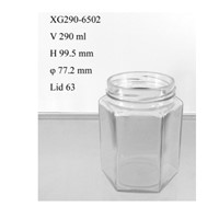 290ml hexagonal food glass jar wide mouth