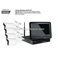 720P/960P HD wifi ir cctv camera security system 4ch / 8ch 10.1 inch lcd wireless WIFI nvr kit