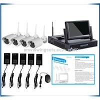 Home security 7inch LCD 4ch cctv wifi nvr kits,Build in 7 High difinition  LCD Screen
