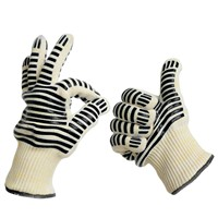 Silicone print nomex kitchen heat resistant oven gloves