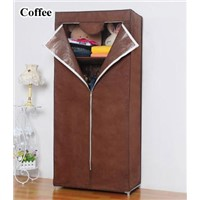 Small simple T style non-woven fabric wardrobe with cover 10110