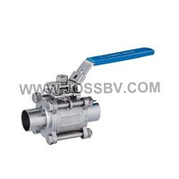 3-Piece Sanitary Ball Valve Butt Weld with ISO5211 Mounting Pad