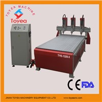 CE approved High efficiency Three heads 3D relief CNC Carving machine TYE-1325-3