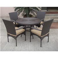 All Season Outdoor Furniture Rectangle Rattan Table and Chairs Dining Set
