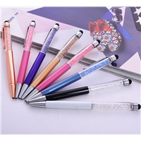2016 new crystal stylus pen 2 in1 touch pen for Office material school supplies