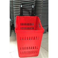 Hot products to sell online plastic shopping basket with wheels