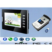 7 inch handfree color video door phone support unlocking by ID card reader