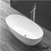 KKR Matte White Marble Stone Free Standing Oval Bathtub