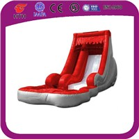 Red wave slide with pool inflatable water slide for sale