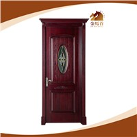 single interior carving glass insert solid wood door