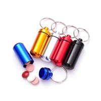 Aluminum metal pill box with key chain travel pill box and pill cutter