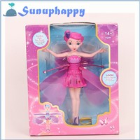 Top quality new design crazy kid gift induction control robot toy flying fairy doll