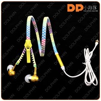factory price metal zipper earphone earbuds noise canceling headphone with mic