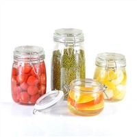 Glass spice storage jars with glass clips