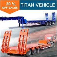 Titan used tri axle loading 60-100ton capacity gooseneck lowboy trailers for sale
