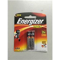 Blister package Energizer AAA LR03 Alkaline battery Made in Singapore