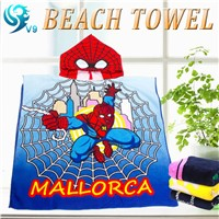 100% cotton velour printed custom kids hooded poncho beach towel