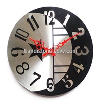 Metal Round Silver with Black Color Wall Clock