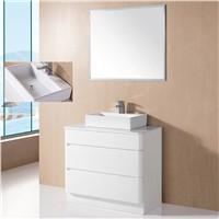 Foshan modern floor standing bathroom mirror lacquer cabinet bathroom vanity vessel sink