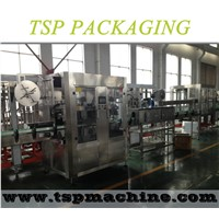 High quality double heads sleeve labeling and shrinking machine for bottle body and neck cap