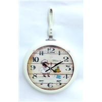 White Pan with Handle Shape Quartz Metal Wall Clock