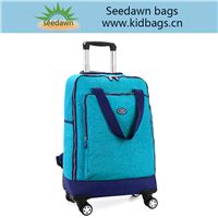 Casual Aluminum Rod Trolley Luggage Backpack with All Way Wheels