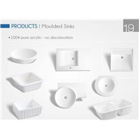 100% pure acrylic solid surface discoloration moulded custom sink basins