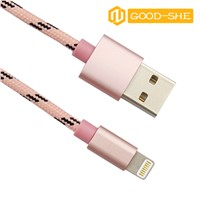 OEM Fabric braided USB data charger cable for iphone5 5S 6 6s 6Plus lightning cables Nylon Cord